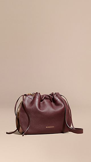 Grainy Leather and House Check Crossbody Bag