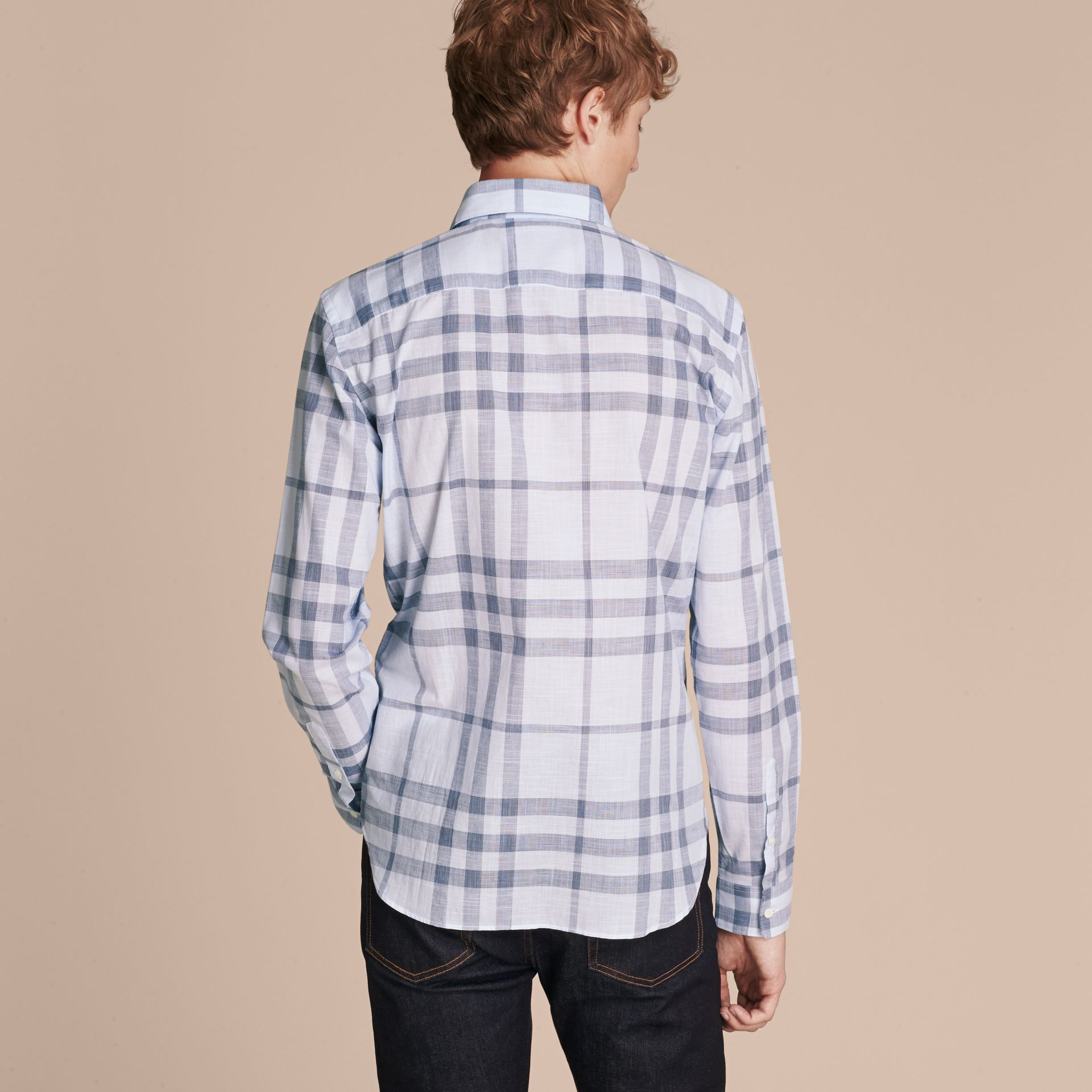 Mineral blue Check Cotton Chambray Shirt Mineral Blue - gallery image 3