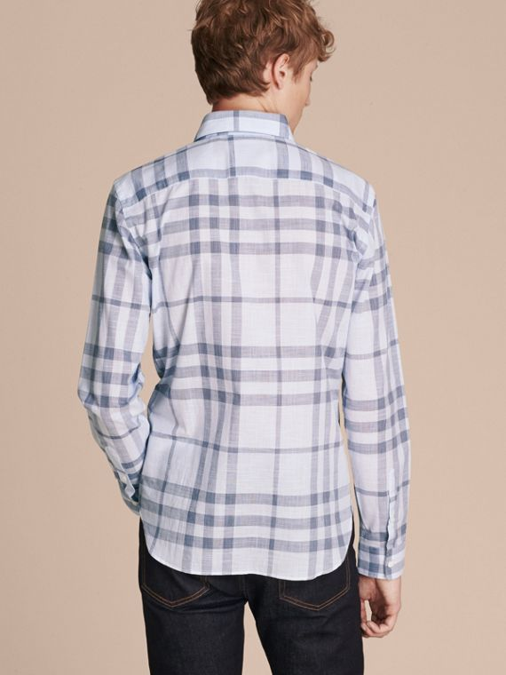 Mineral blue Check Cotton Chambray Shirt Mineral Blue - cell image 2