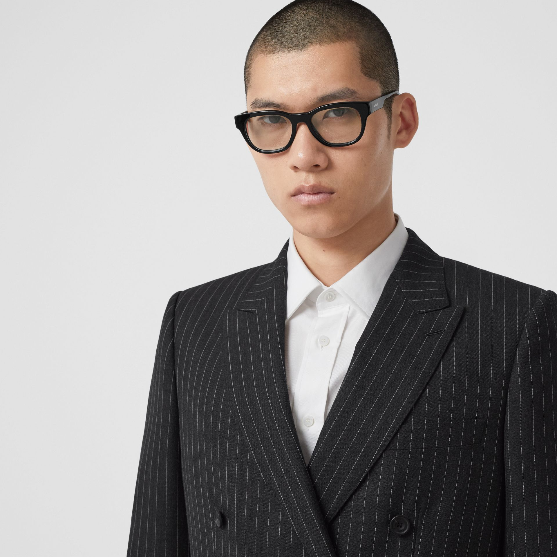 English Fit Pinstriped Wool Double-breasted Suit in Charcoal - Men | Burberry - gallery image 1