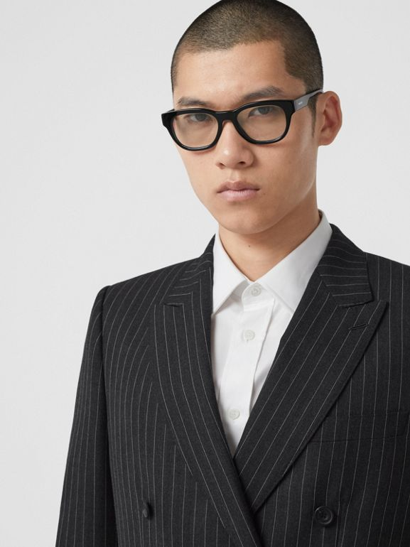 English Fit Pinstriped Wool Double-breasted Suit in Charcoal - Men | Burberry - cell image 1