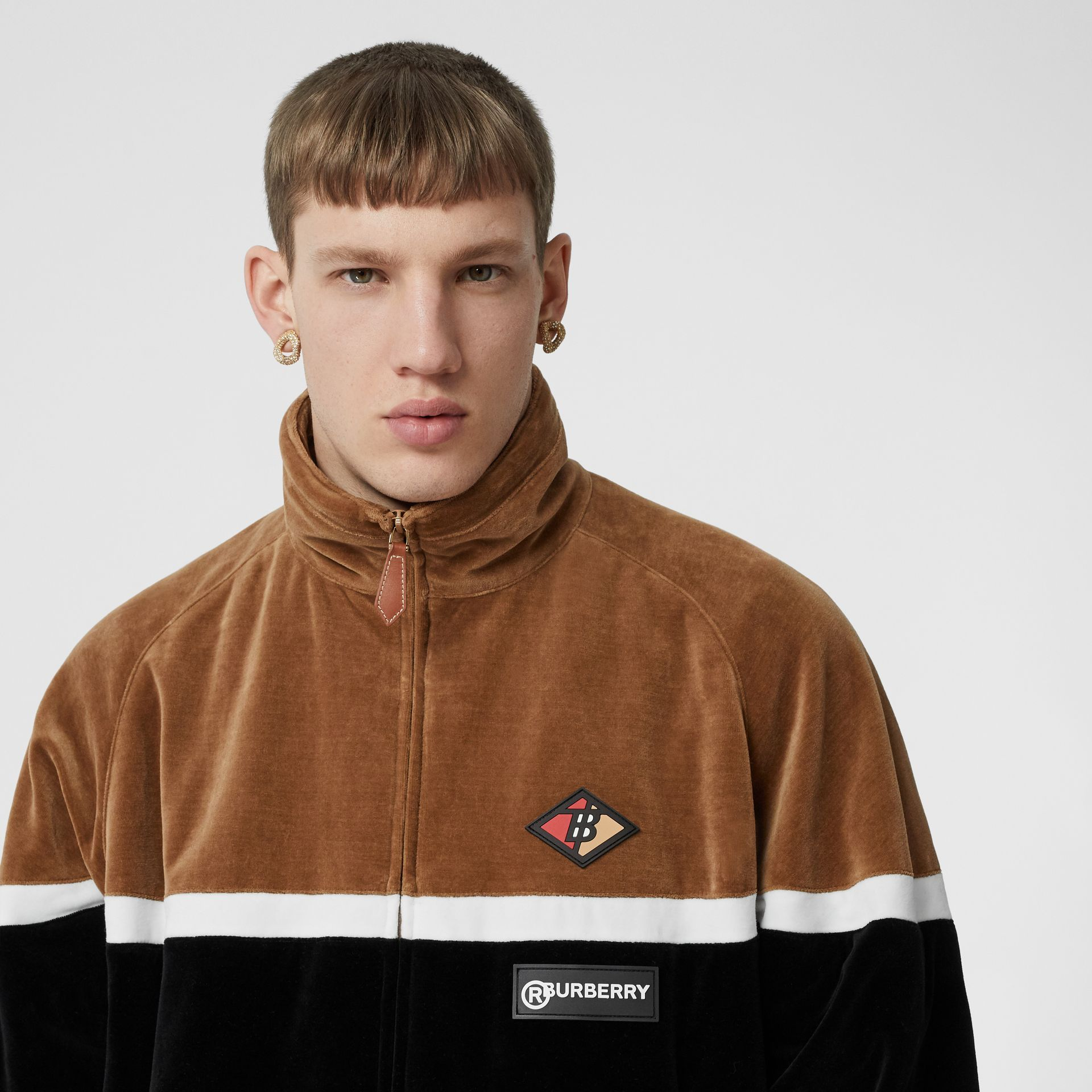 Logo Graphic Striped Chenille Track Top in Dark Walnut - Men | Burberry - gallery image 6
