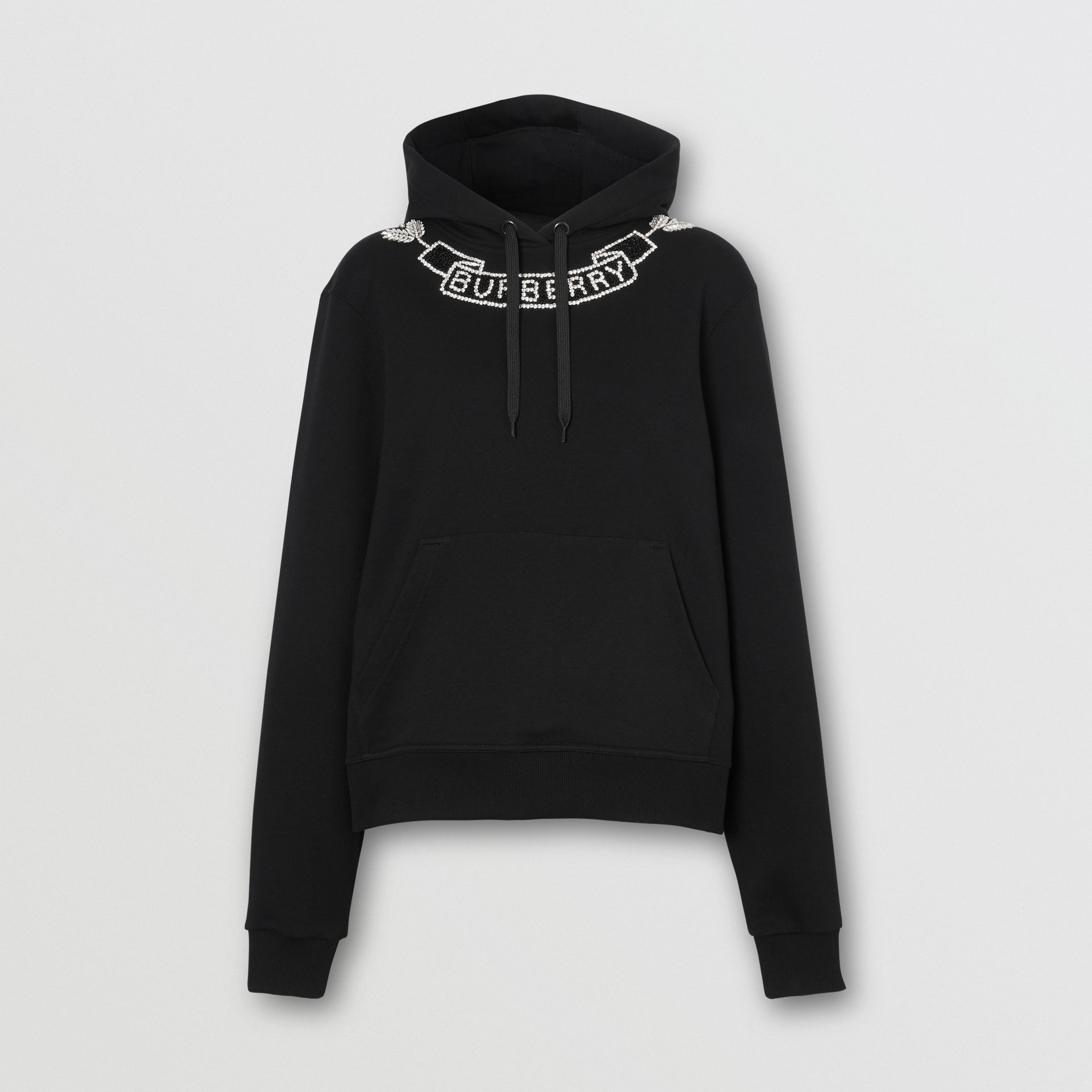 Embellished Cotton Oversized Hoodie in Black - Women | Burberry - gallery image 3