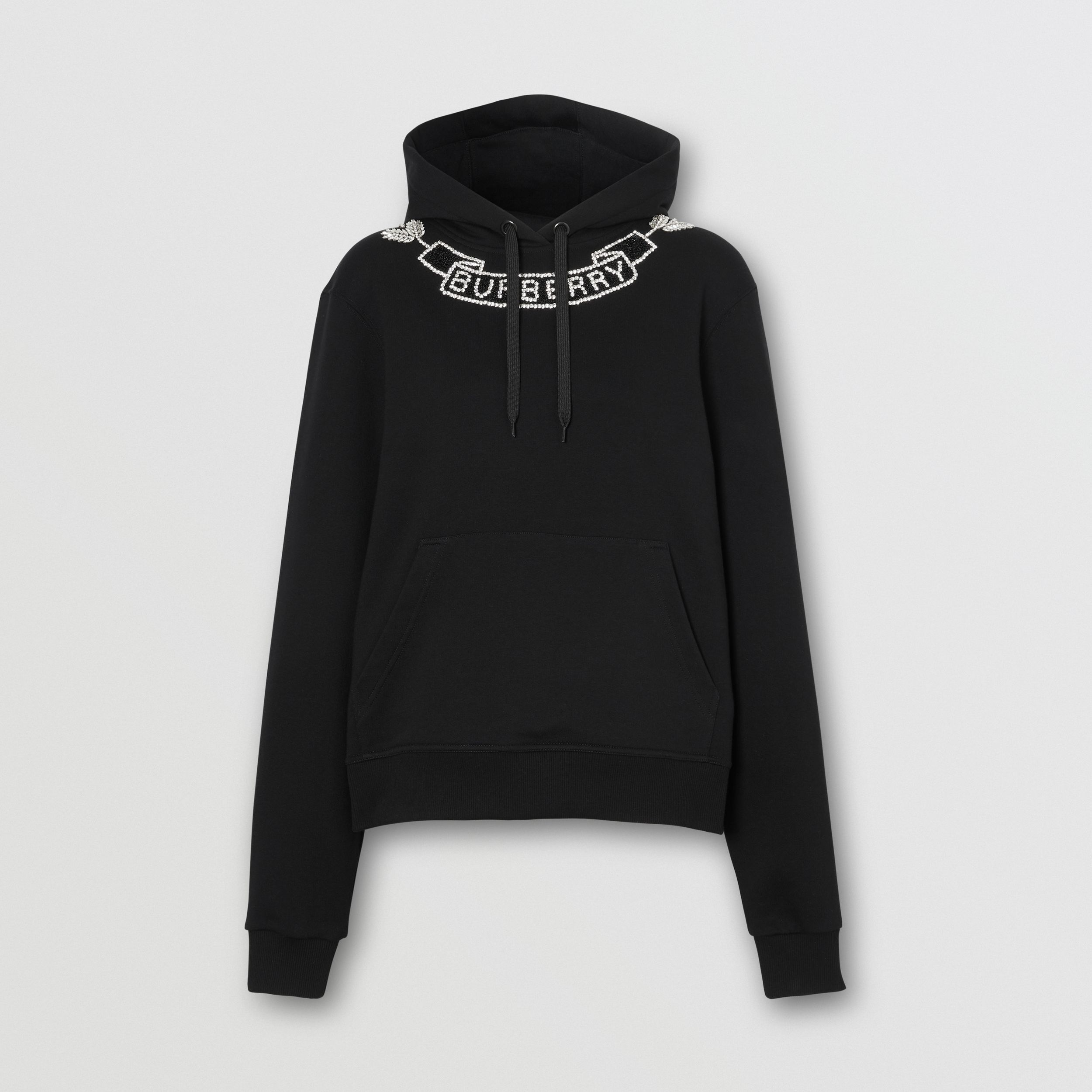 Embellished Cotton Oversized Hoodie in Black - Women | Burberry Hong Kong S.A.R - 4