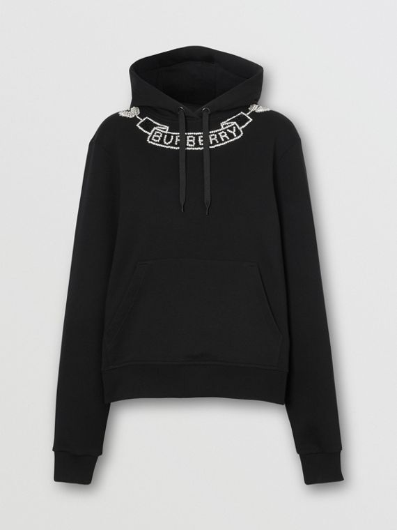 Embellished Cotton Oversized Hoodie in Black