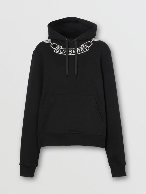 Embellished Cotton Oversized Hoodie in Black - Women | Burberry - cell image 3