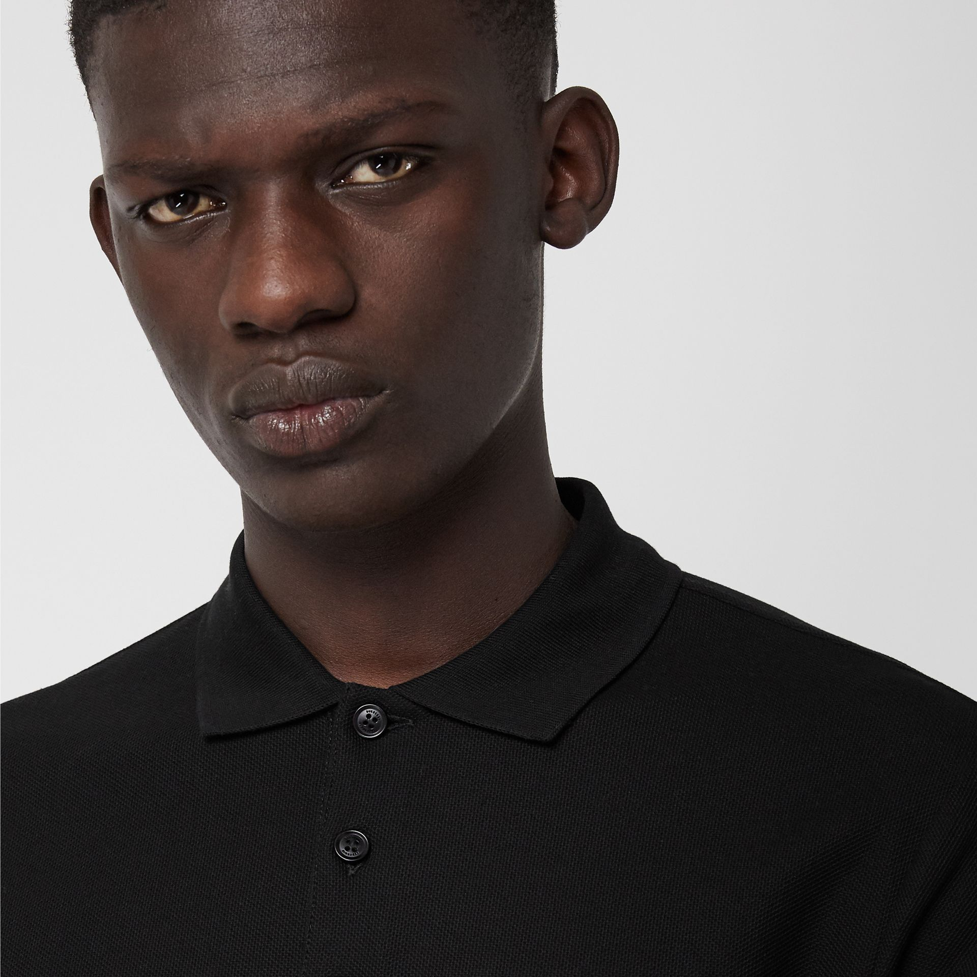 Long-sleeve Archive Logo Cotton Piqué Polo Shirt in Black - Men | Burberry - gallery image 1