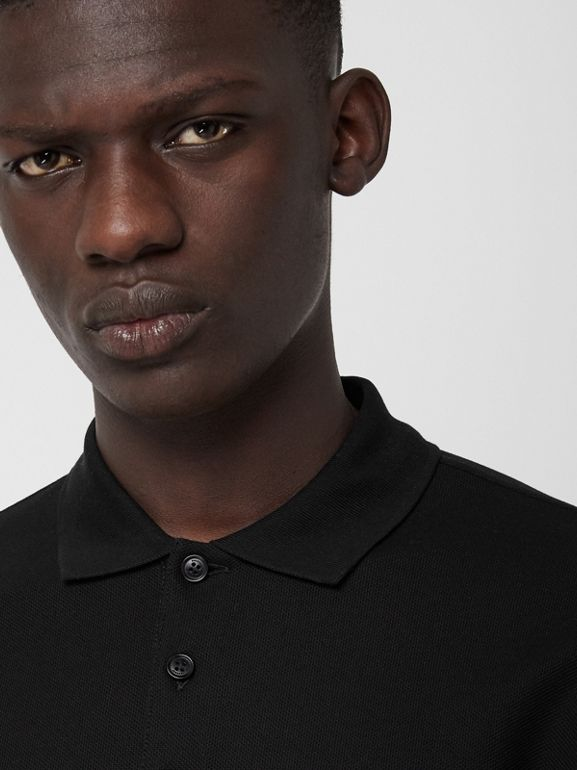 Long-sleeve Archive Logo Cotton Piqué Polo Shirt in Black - Men | Burberry - cell image 1