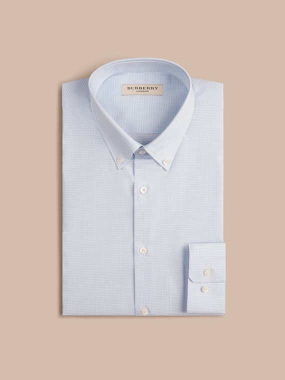 Slim Fit Button-down Collar Gingham Cotton Poplin Shirt in City Blue - cell image 3