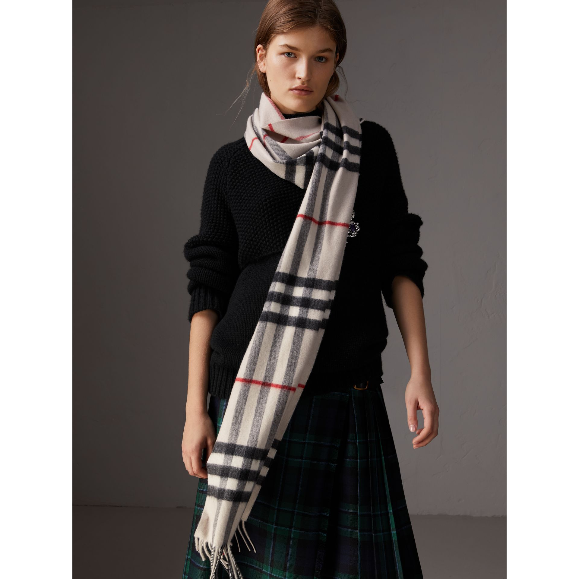 The Classic Check Cashmere Scarf in Stone | Burberry United Kingdom - gallery image 3
