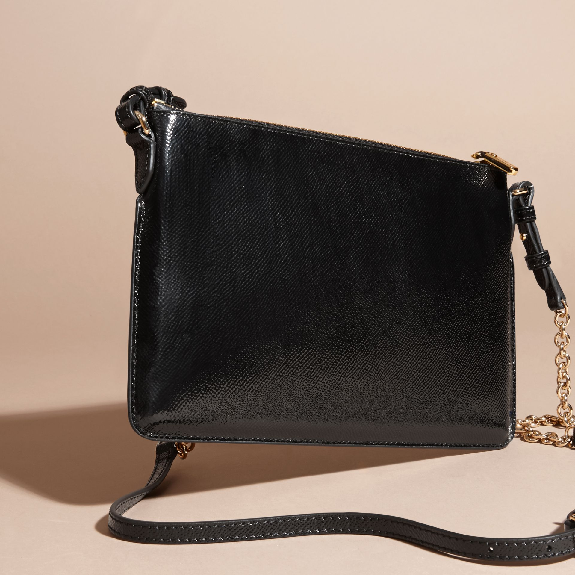 Patent London Leather Clutch Bag in Black - gallery image 5