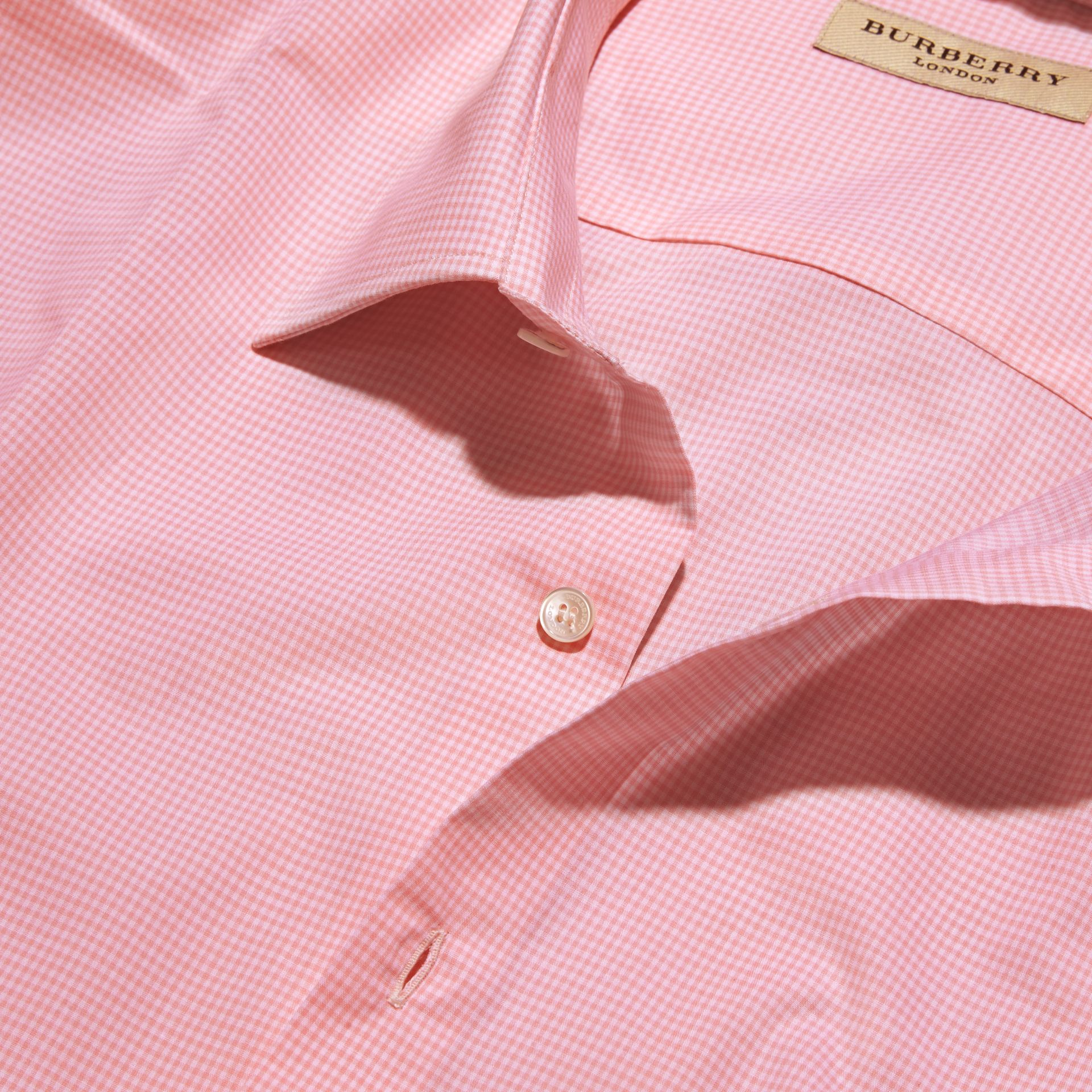 Slim Fit Gingham Cotton Poplin Shirt City Pink - gallery image 2