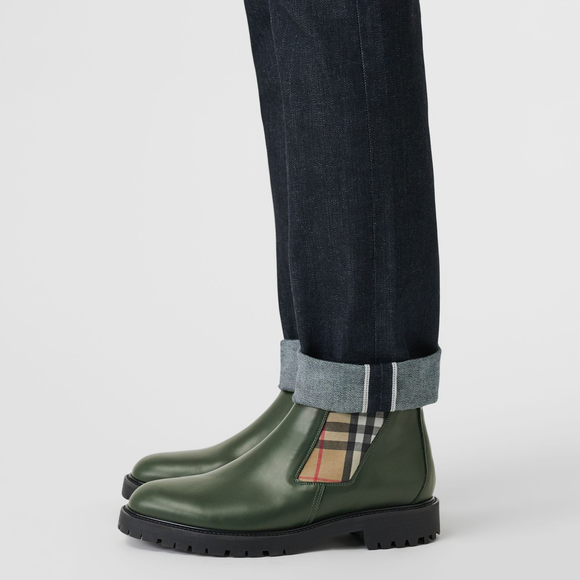 Vintage Check Detail Leather Chelsea Boots in Bottle Green - Men | Burberry - gallery image 2