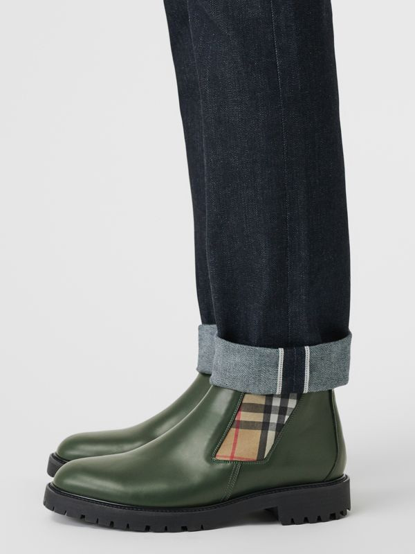 Vintage Check Detail Leather Chelsea Boots in Bottle Green - Men | Burberry - cell image 2
