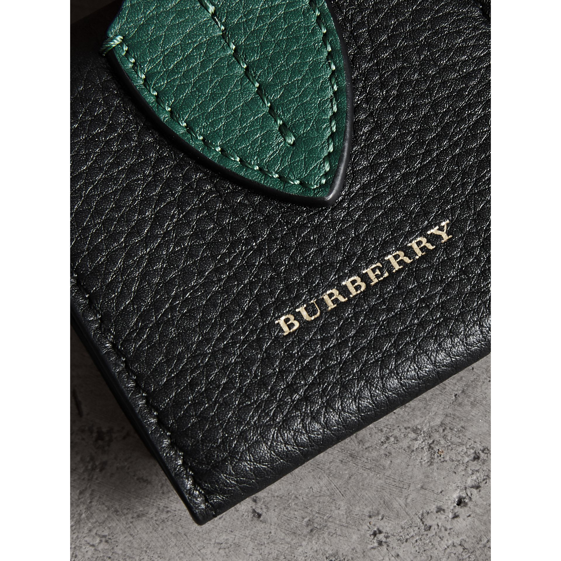 Small Square Leather Coin Case Charm in Black/sea Green - Women | Burberry United Kingdom - gallery image 1