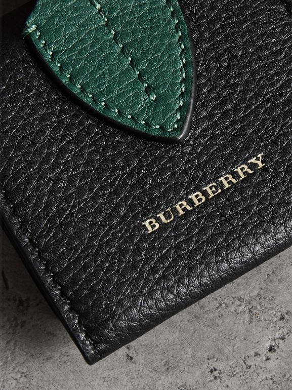 Small Square Leather Coin Case Charm in Black/sea Green - Women | Burberry United States - cell image 1