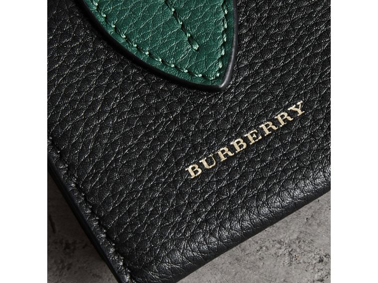Small Square Leather Coin Case Charm in Black/sea Green - Women | Burberry United Kingdom - cell image 1
