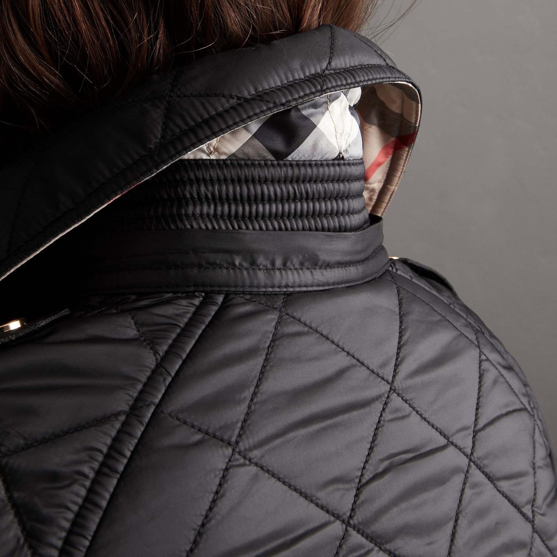 Detachable Hood Quilted Showerproof Parka in Black - Women | Burberry - gallery image 5