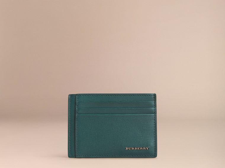 London Leather Card Case in Dark Teal | Burberry - cell image 1