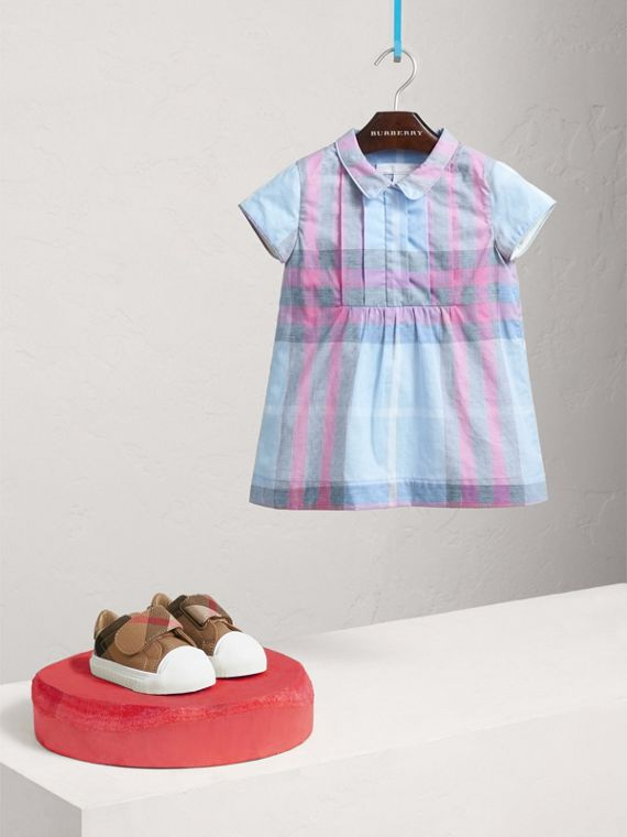 Pleated Bib Check Cotton Dress in Chalk Blue