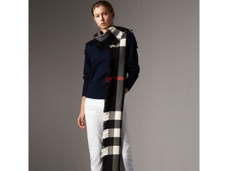 Military Braid Detail Wool Cashmere Sweater in Navy - Women | Burberry - cell image 4