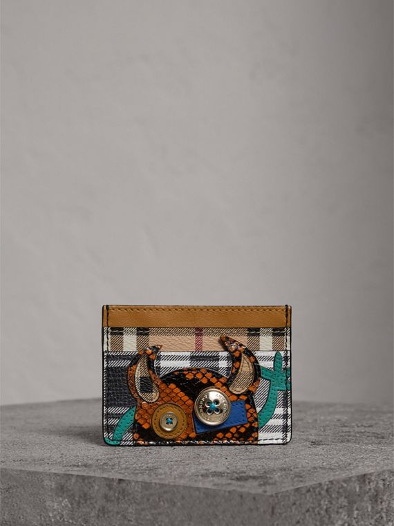 Creature Appliqué Leather Card Case in Black/white - Women | Burberry - cell image 3