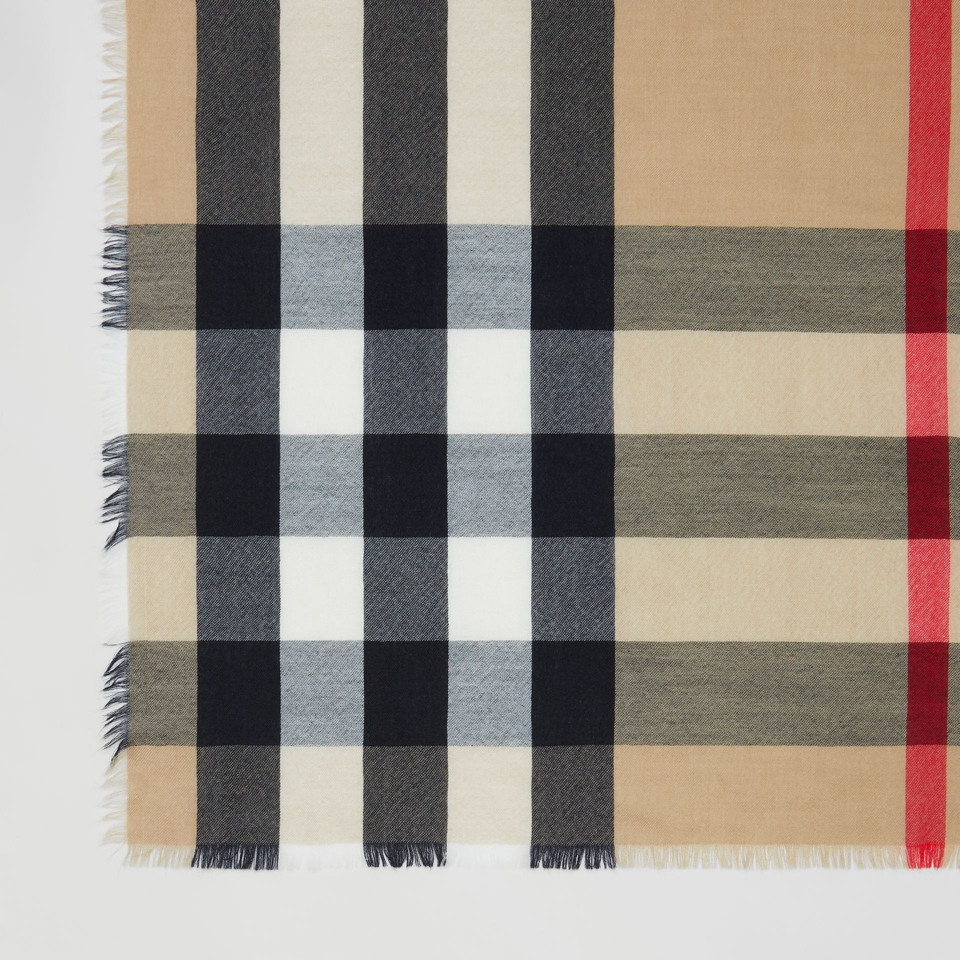 Lightweight Check Cashmere Scarf in Archive Beige | Burberry - gallery image 1