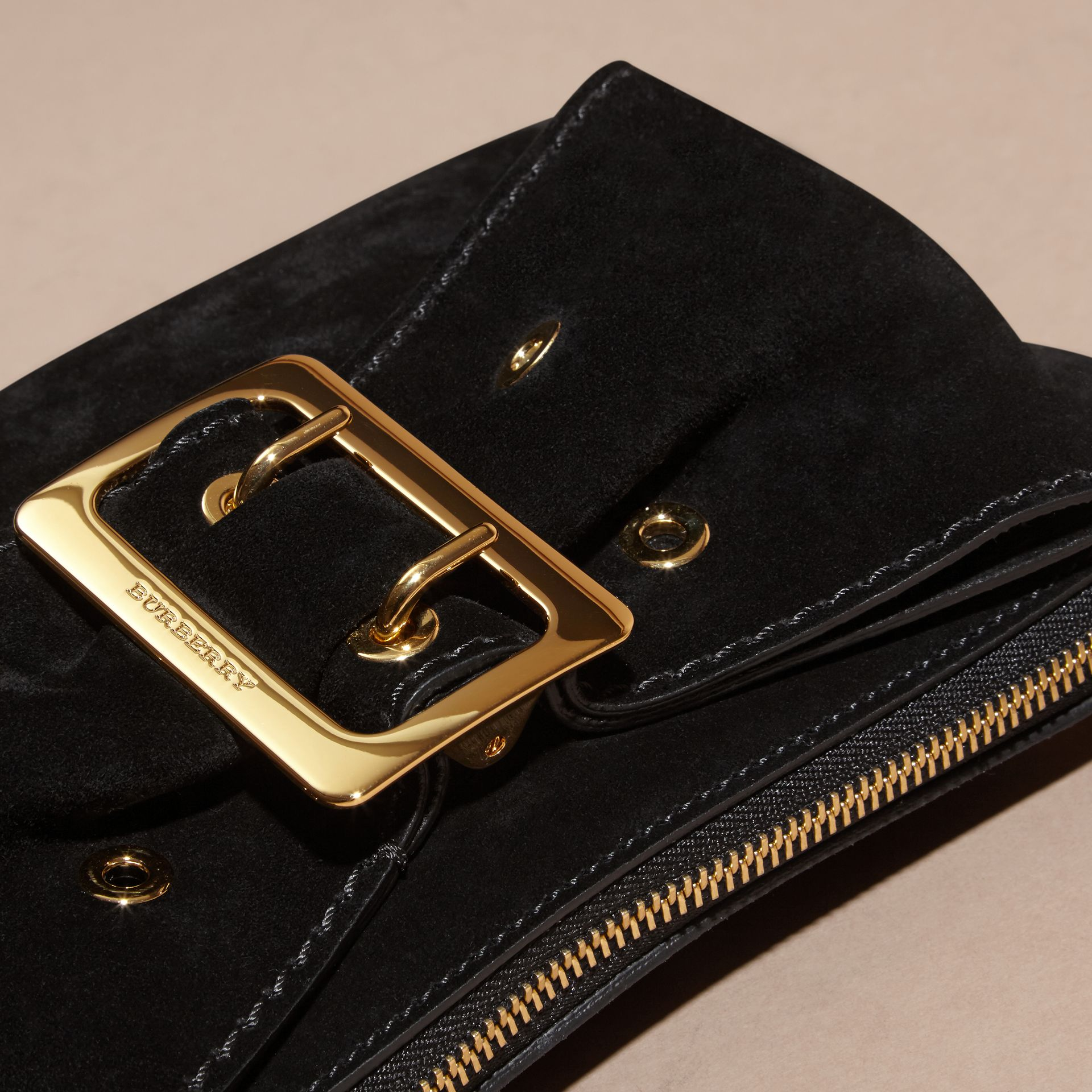 Black Suede Clutch Bag with Buckled Bow Detail Black - gallery image 7
