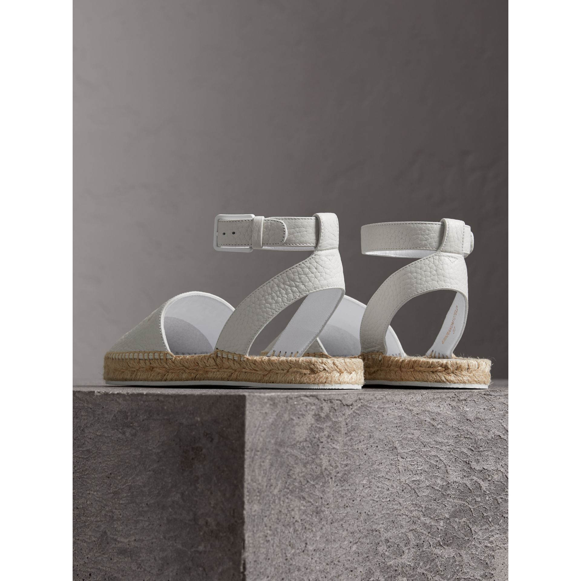Embossed Grainy Leather Espadrille Sandals in Optic White - Women | Burberry United Kingdom - gallery image 3