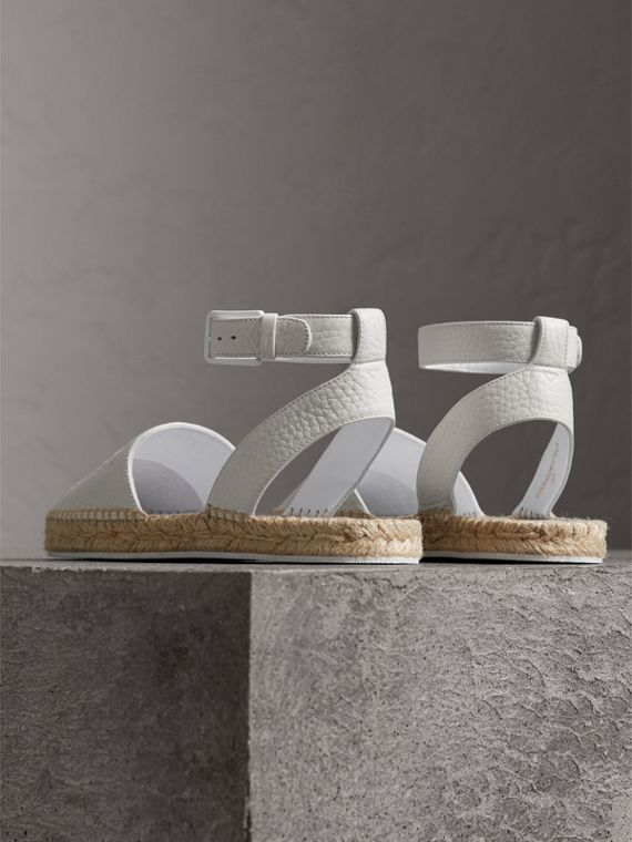 Embossed Grainy Leather Espadrille Sandals in Optic White - Women | Burberry United Kingdom - cell image 3