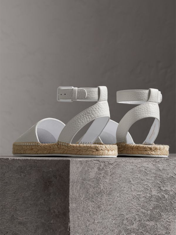 Embossed Grainy Leather Espadrille Sandals in Optic White - Women | Burberry - cell image 3