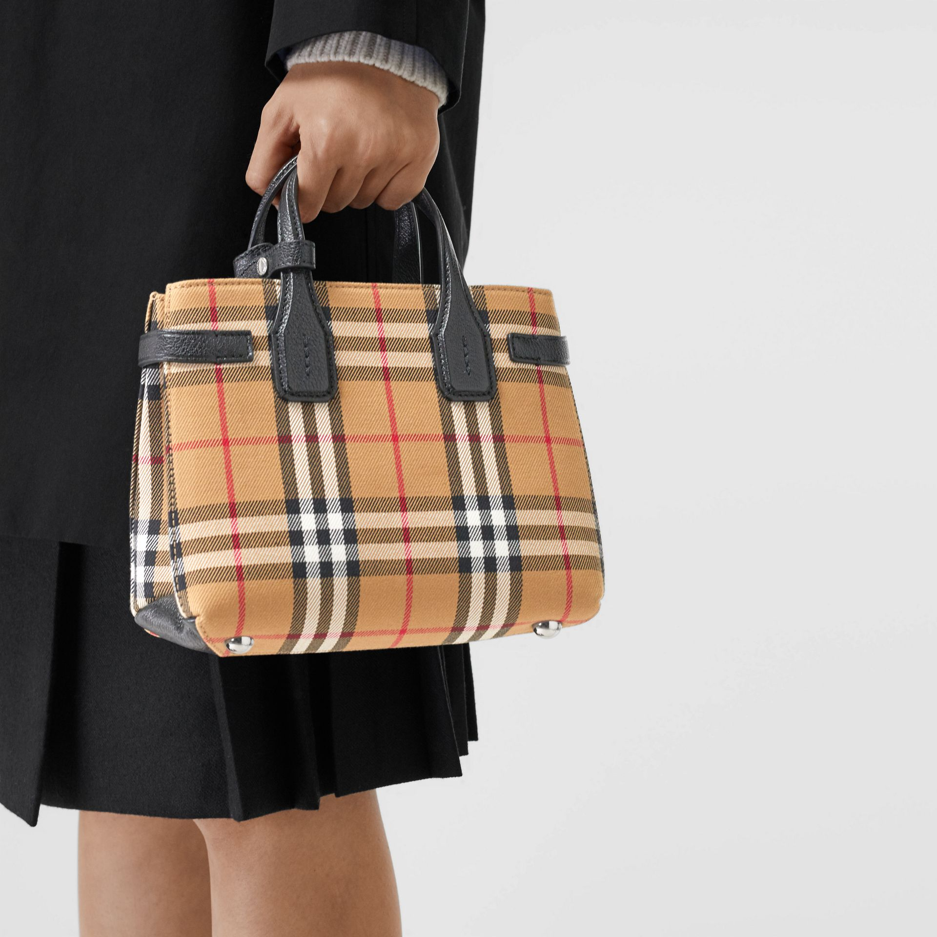 The Baby Banner in Vintage Check and Leather in Black - Women | Burberry Australia - gallery image 3