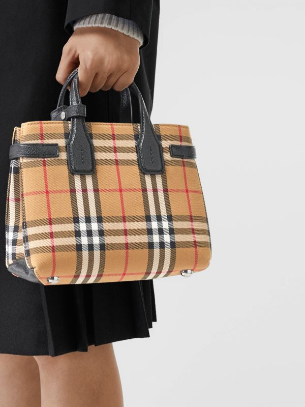 The Baby Banner in Vintage Check and Leather in Black - Women | Burberry - cell image 3