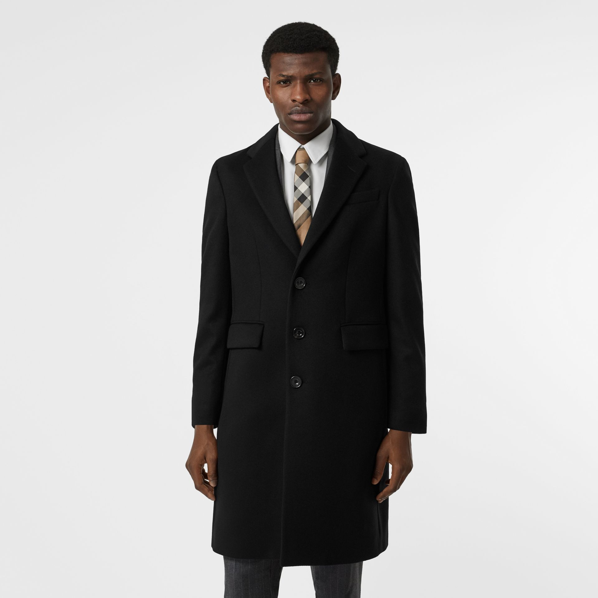 Wool Cashmere Tailored Coat in Black - Men | Burberry United States - gallery image 6
