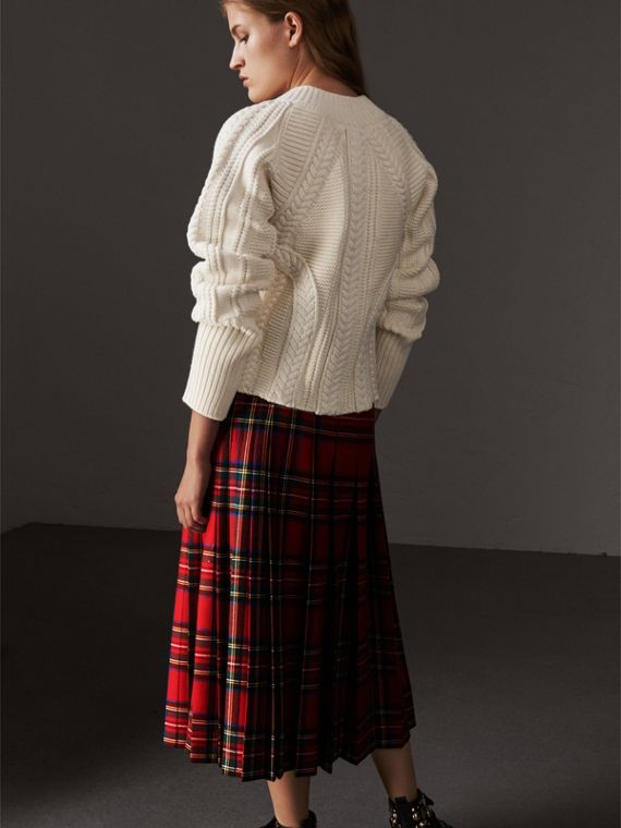 Cable Knit Wool Cashmere Sweater in Natural White - Women | Burberry - cell image 2
