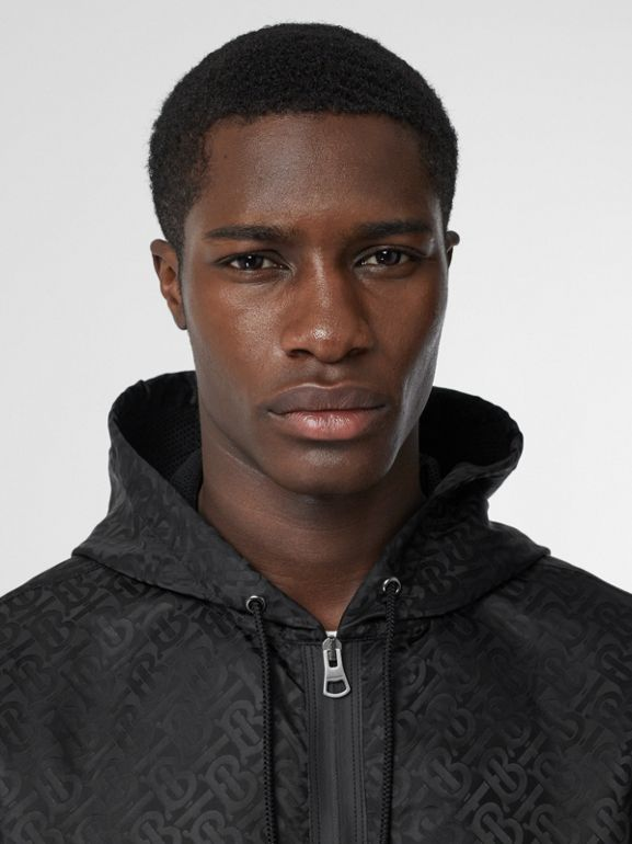 Monogram ECONYL® Jacquard Hooded Jacket in Black | Burberry - cell image 1