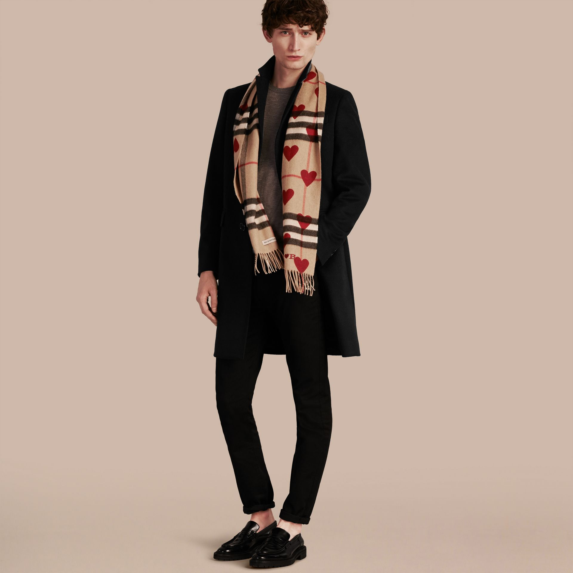 The Classic Cashmere Scarf in Check and Hearts Parade Red - gallery image 4
