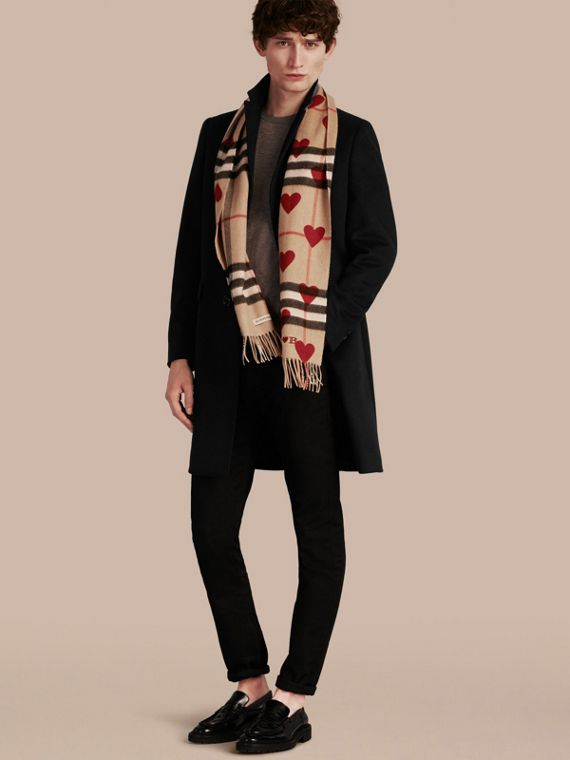 The Classic Cashmere Scarf in Check and Hearts Parade Red - cell image 3