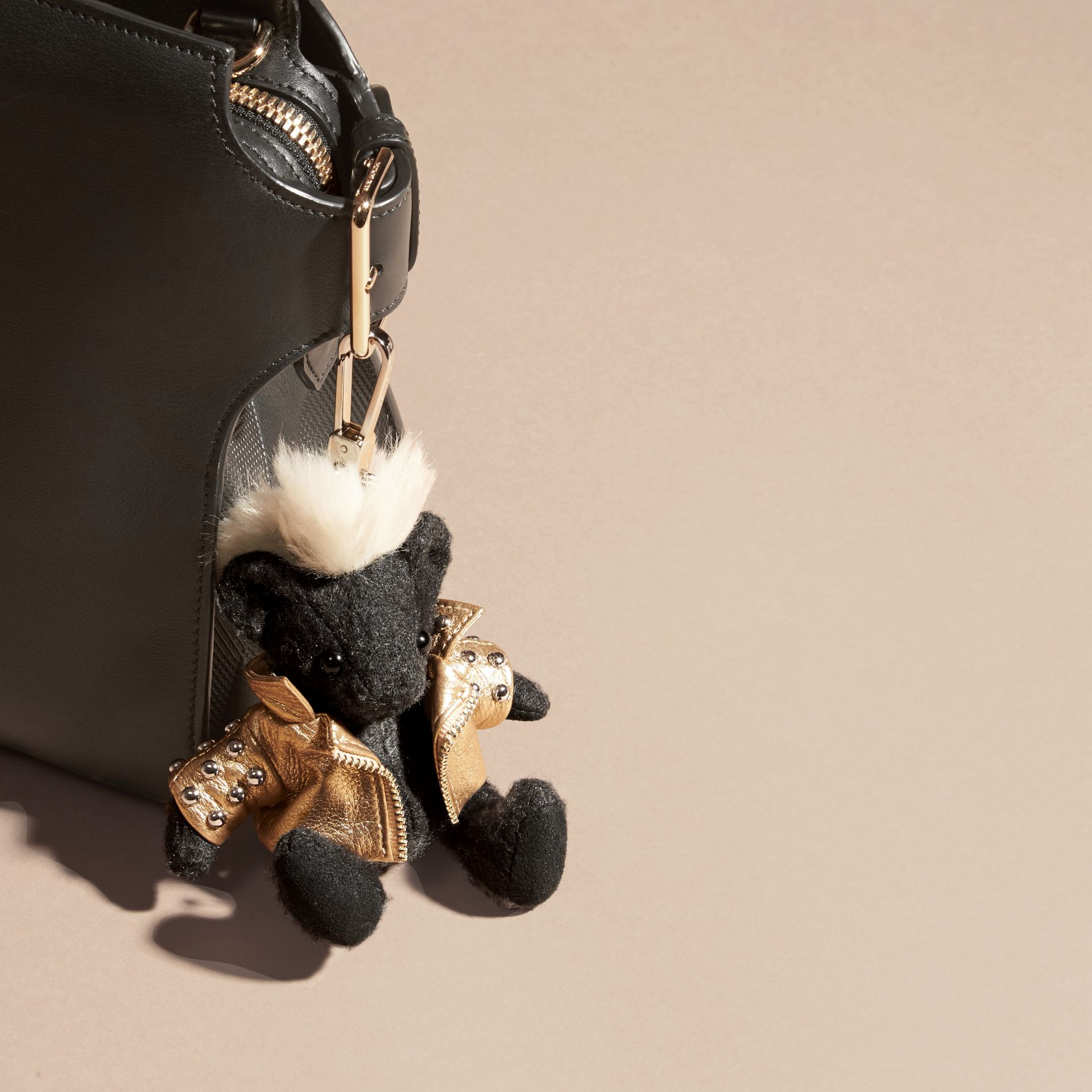 The Punk Thomas Bear Charm in Charcoal | Burberry Canada - gallery image 3