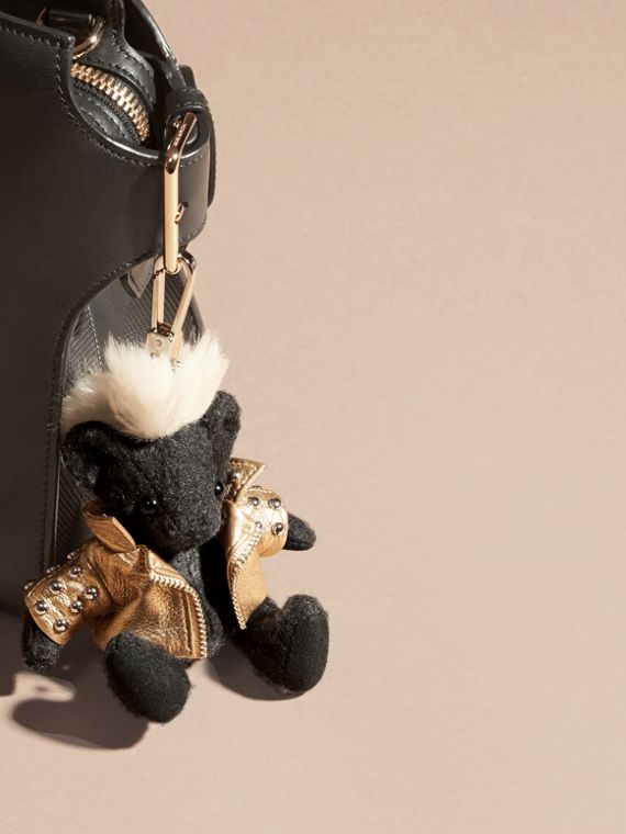 The Punk Thomas Bear Charm in Charcoal | Burberry Canada - cell image 2