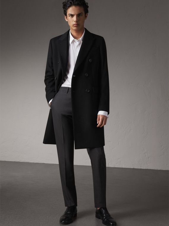 Double-breasted Wool Cashmere Tailored Coat in Black