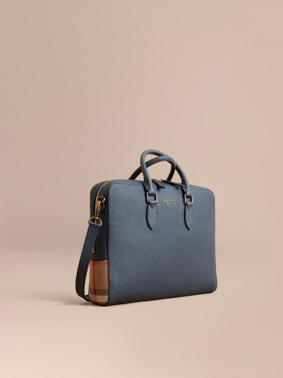 Leather and House Check Briefcase Storm Blue