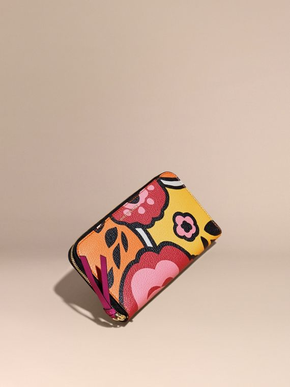 Floral Print Grainy Leather Ziparound Wallet Vibrant Orange