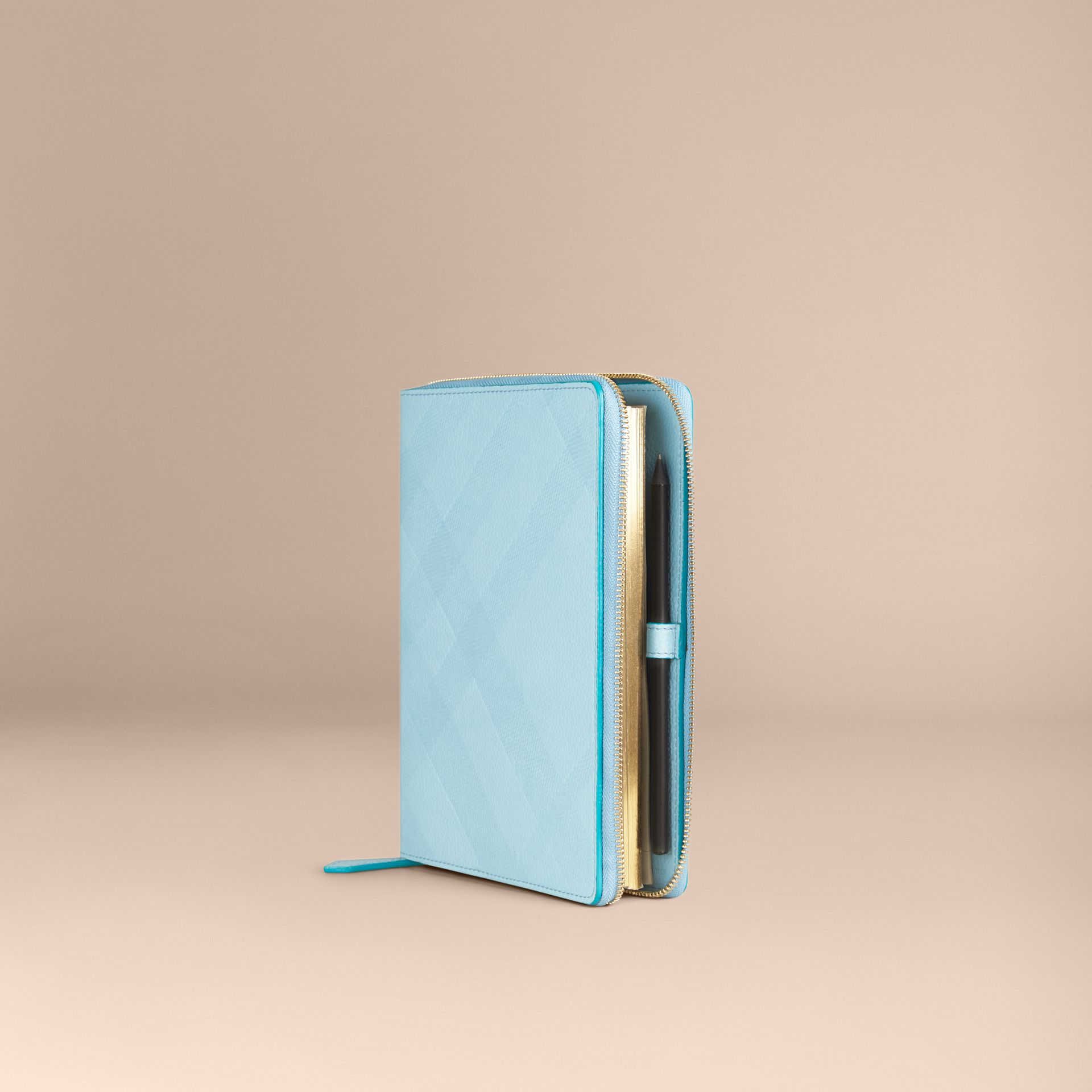 Bright mineral blue Ziparound Check-Embossed Leather A5 Notebook Bright Mineral Blue - gallery image 1