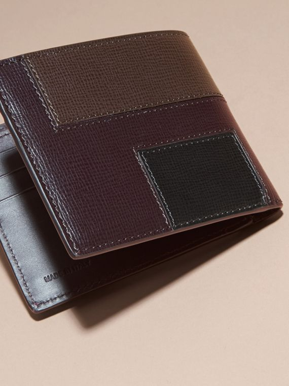 Wine Colour Block London Leather Folding Wallet Wine - cell image 3