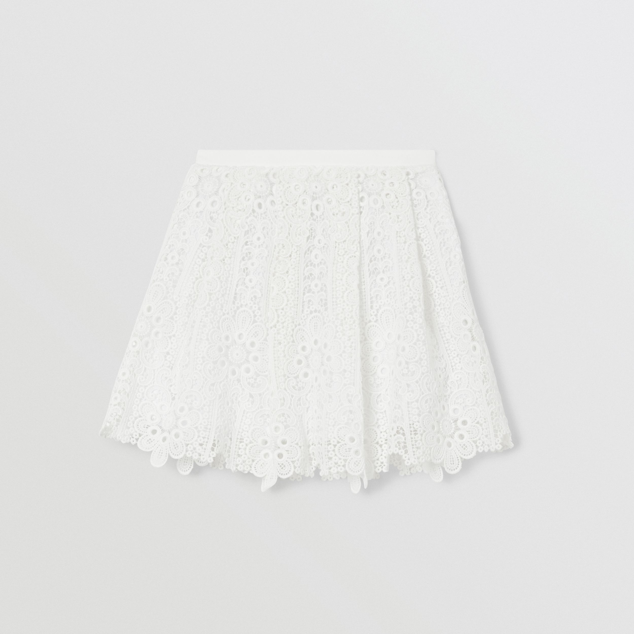 Pleated Macramé Lace Skirt in White | Burberry - 1