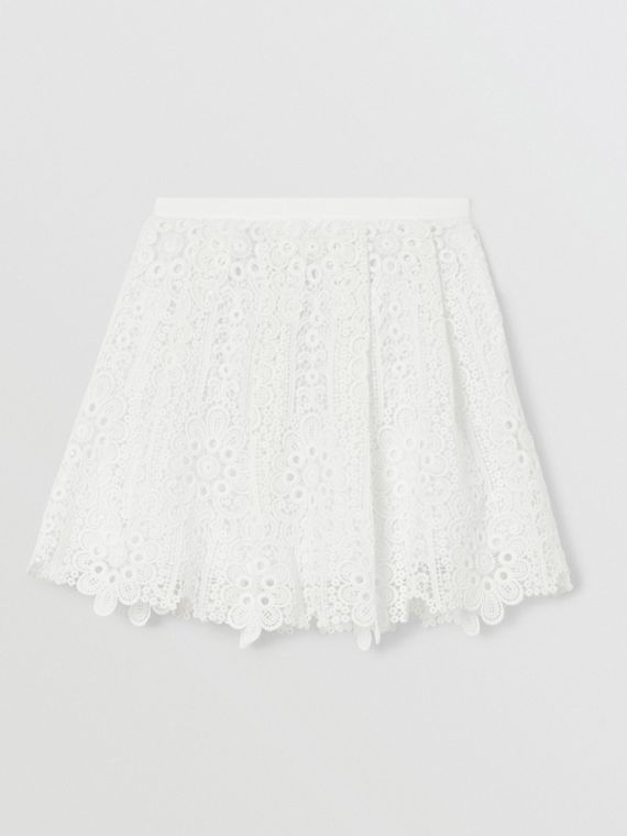 Pleated Macramé Lace Skirt in White
