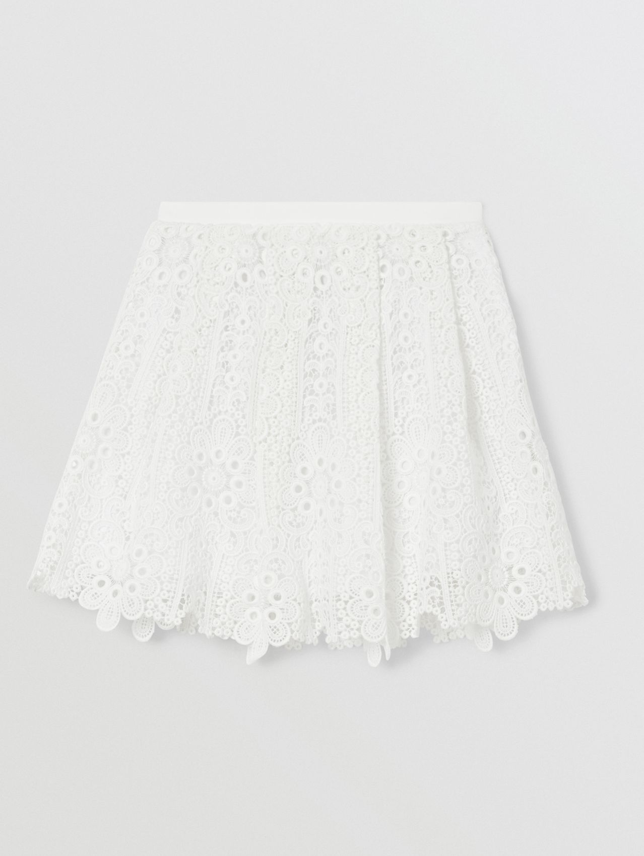 Pleated Macramé Lace Skirt (White)