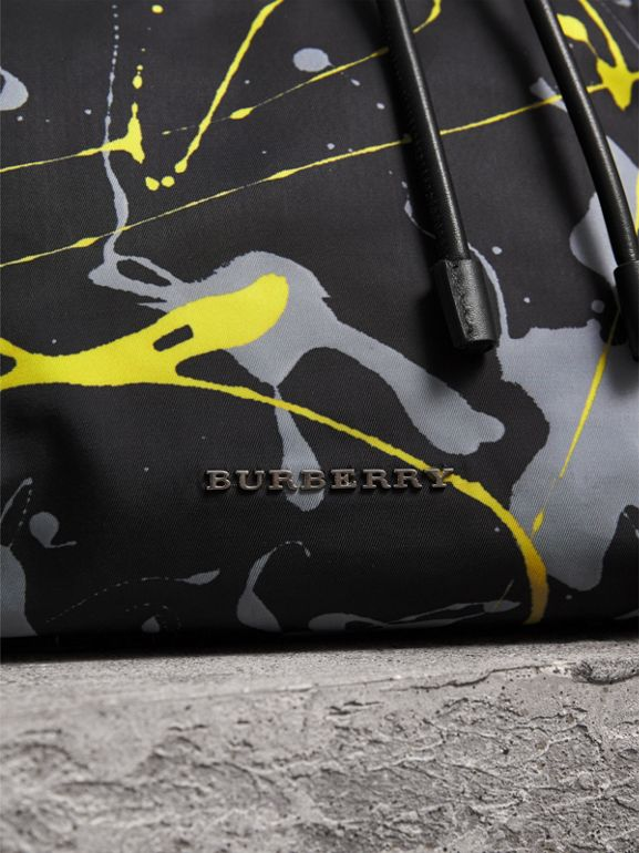 The Large Rucksack in Splash Print in Black/yellow - Men | Burberry - cell image 1