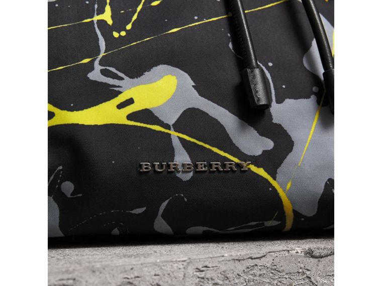 The Large Rucksack in Splash Print in Black/yellow | Burberry Australia - cell image 1